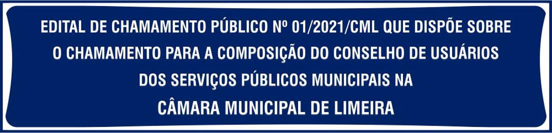 Edital de chamamento público - Conselho de usuários de serviços públicos